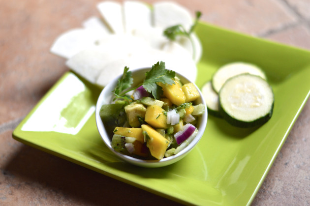 mango avocado salsa plate with cucumber jicama